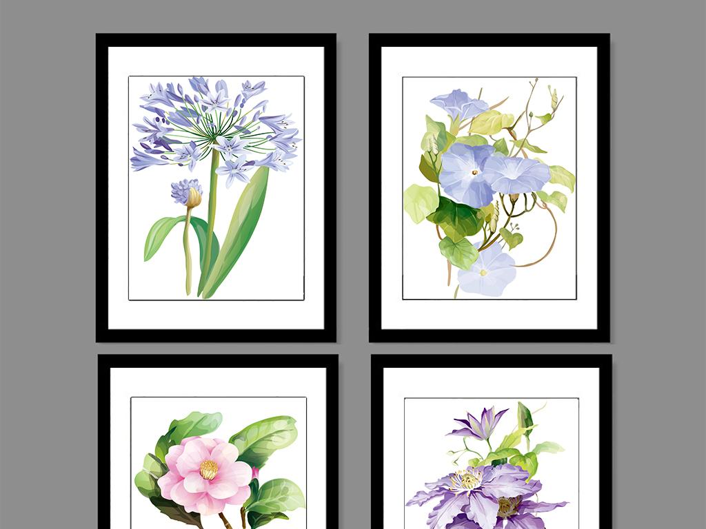 清新手绘花朵装饰画
