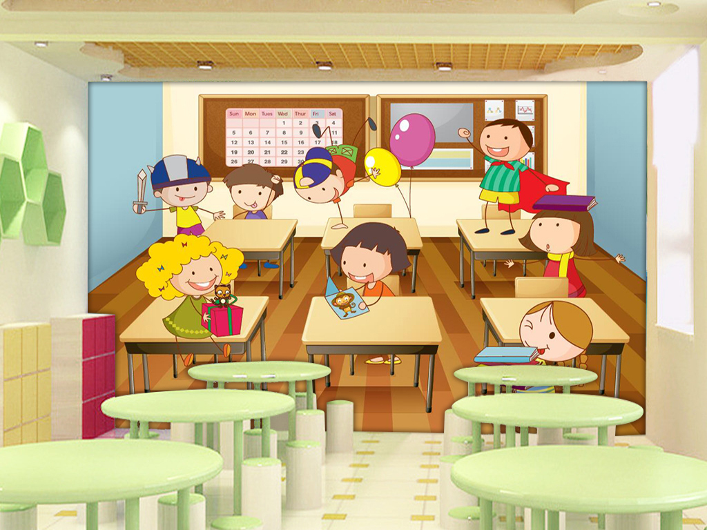 背景墙|装饰画 电视背景墙 手绘电视背景墙 > 超清卡通班级学生系列