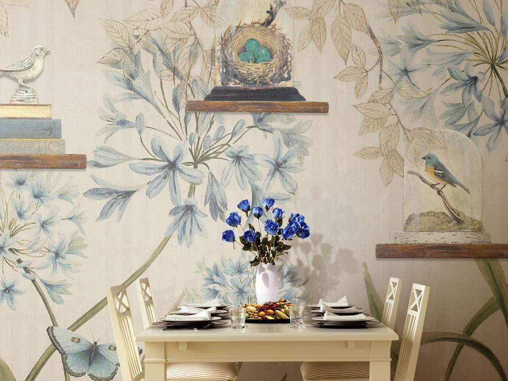 浅蓝色美式乡村复古清新背景墙壁纸手绘图片