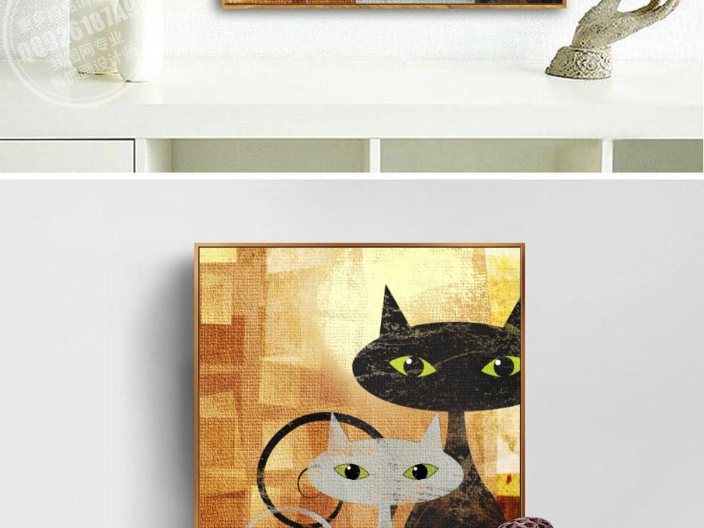 背景墙|装饰画 无框画 抽象图案无框画 > 抽象油手绘可爱猫咪无框画