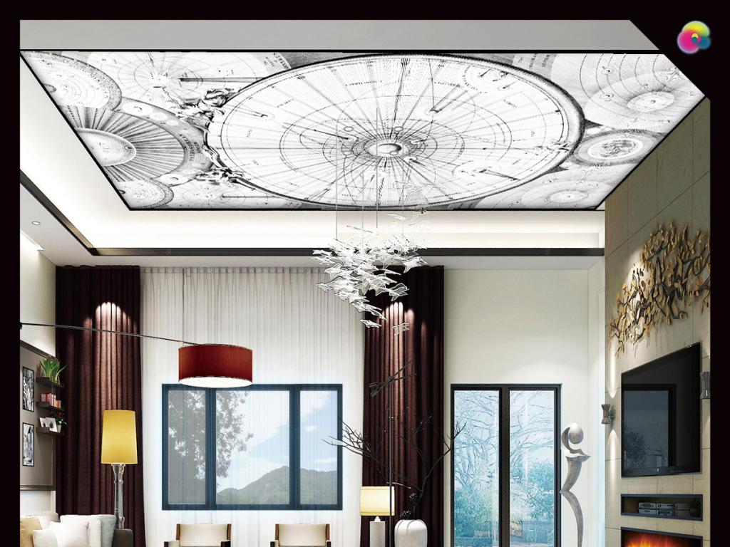 手绘复古奢华天顶壁画天花板欧式风格壁纸
