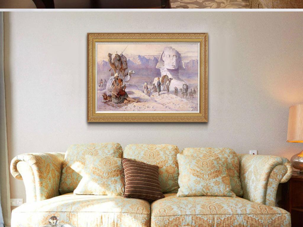 世界名画白茫茫雪中金字塔骆驼人群风景油画