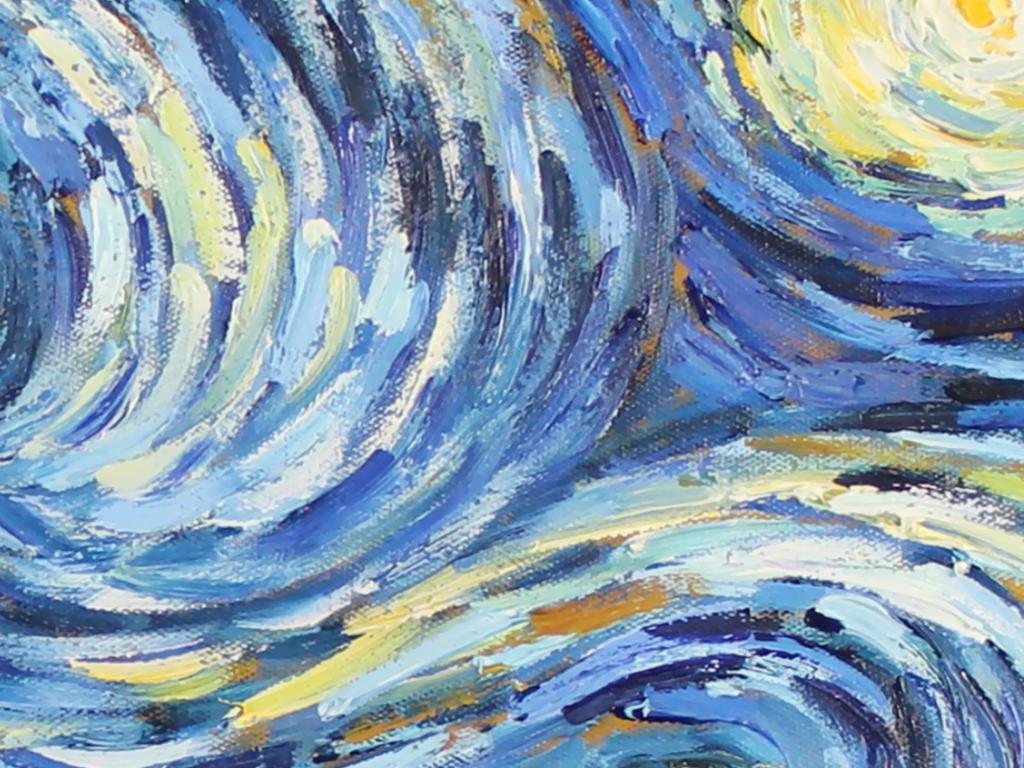 高清手绘梵高星空油画