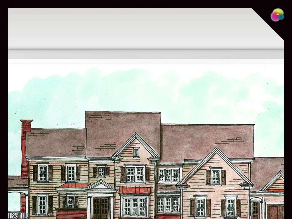 手绘城市街道建筑水彩画插画电视背景墙