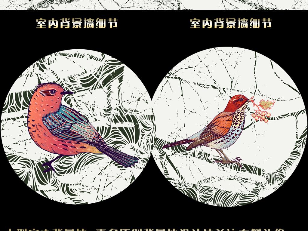 抽象树枝花鸟图(图片编号:15474848)_手绘电视背景墙