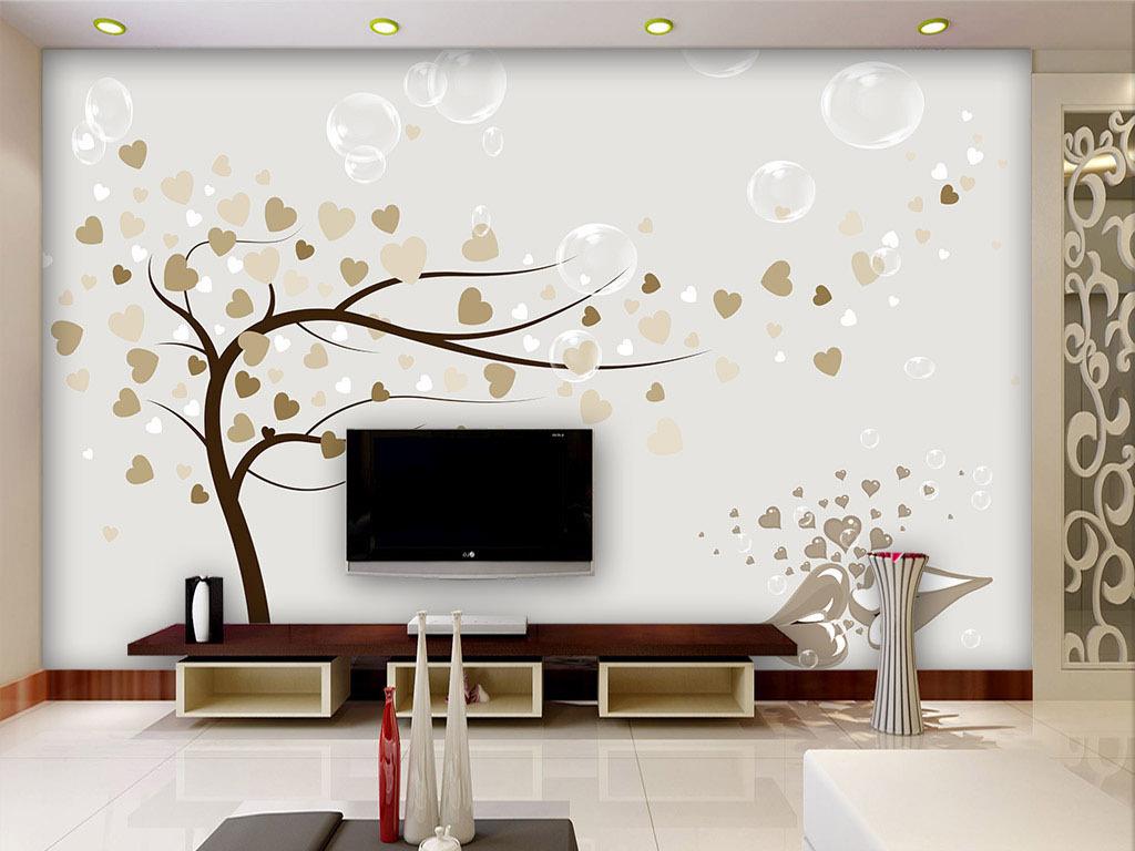 手绘爱心树电视背景墙