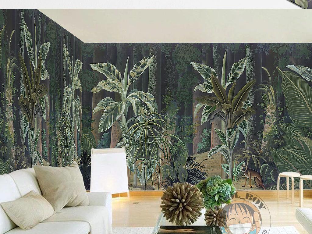 地中海风格手绘原始森林绿色树木电视背景墙
