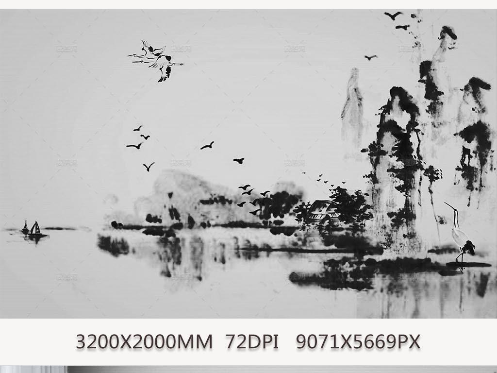 水墨山水风景中国风墙纸