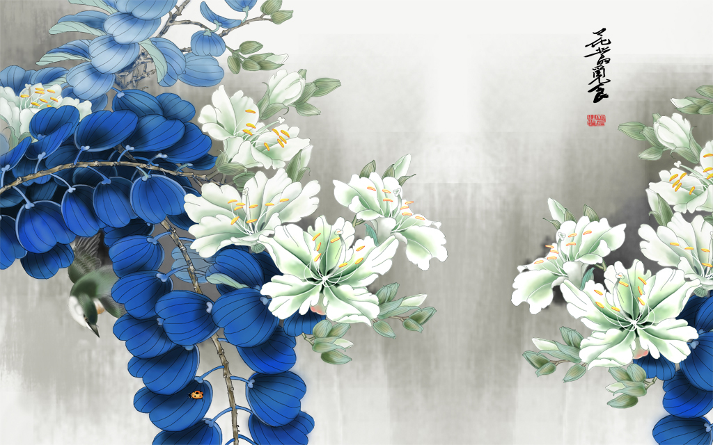 手绘唯美蓝色叶白玉兰背景