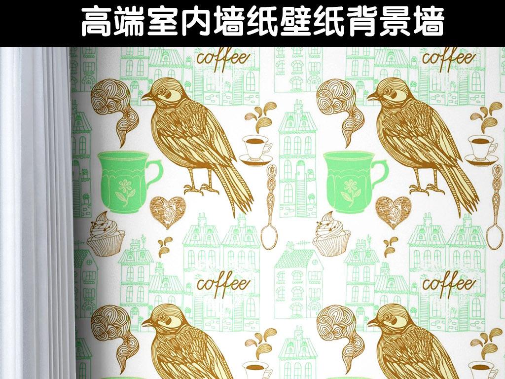 手绘小鸟抽象图案花纹墙纸(图片编号:15476982)_美式