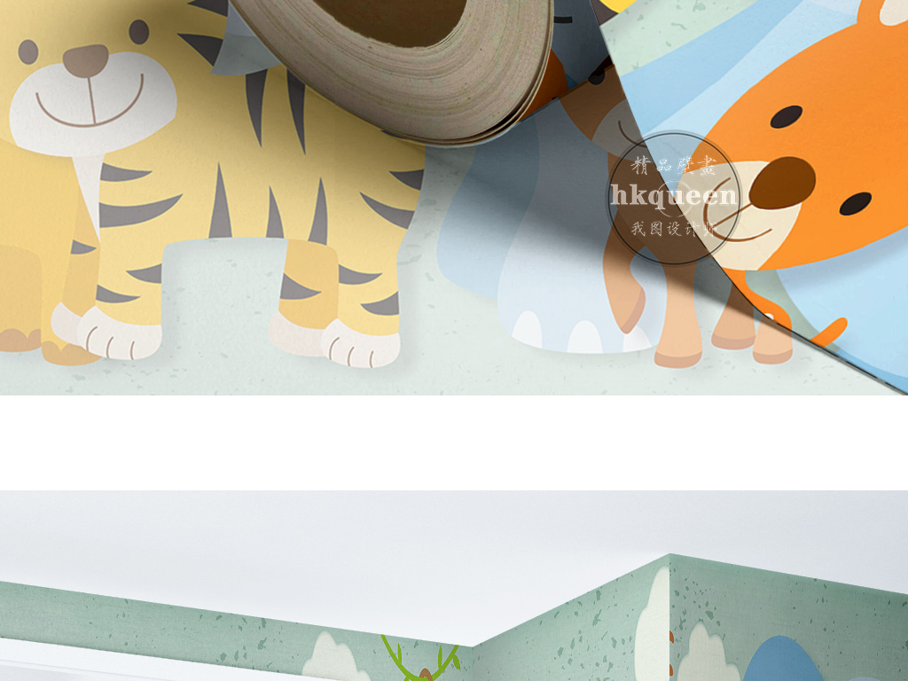 手绘卡通动漫形象小动物素雅现代简约墙纸