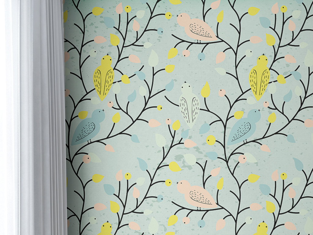 背景墙|装饰画 墙纸 美式墙纸 > 撞色简单素雅时尚抽象树枝手绘花鸟