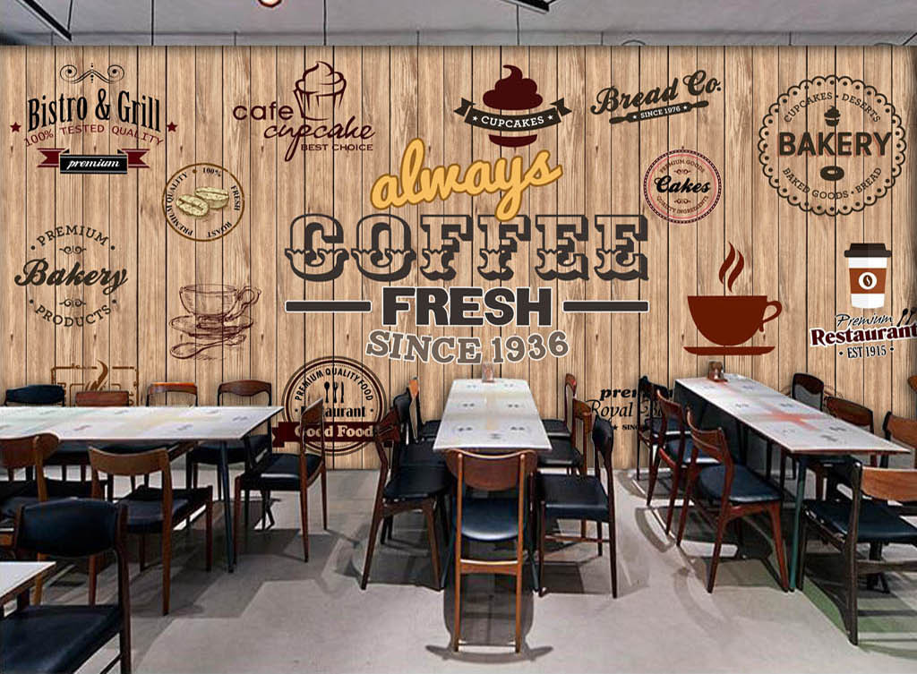 欧美木板咖啡店西餐厅背景墙图片