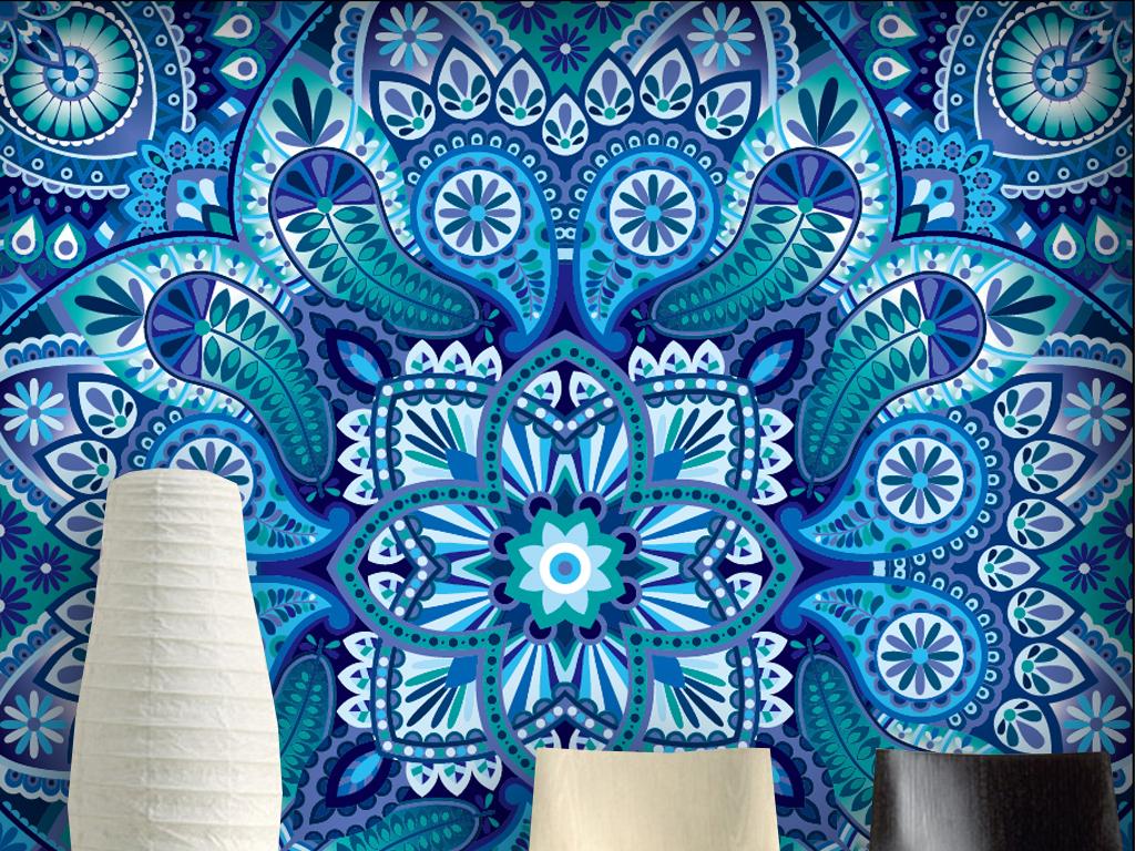 民族风孔雀蓝装饰画矢量