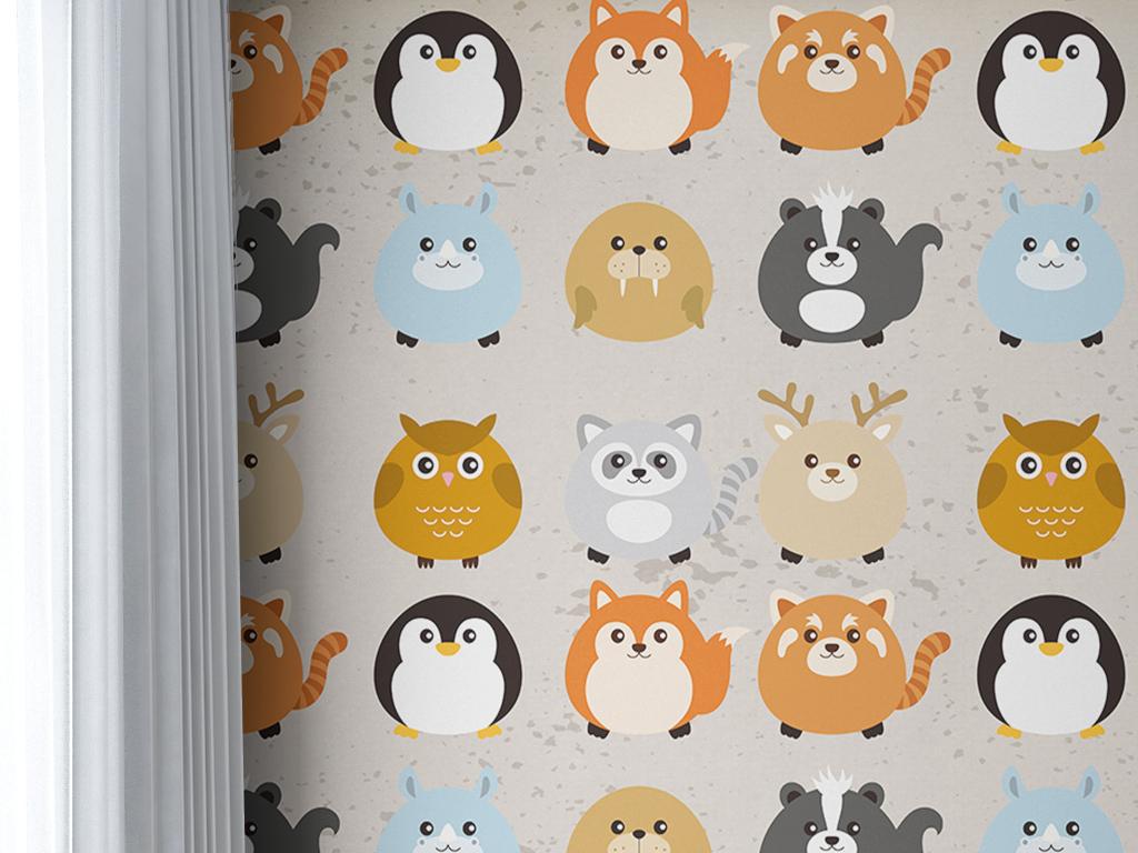 手绘卡通小动物图案儿童现代简约墙纸