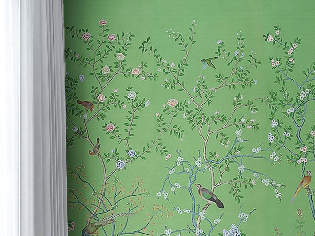 背景墙|装饰画 墙纸 美式墙纸 > 手绘素雅时尚抽象花鸟图案绿色环保