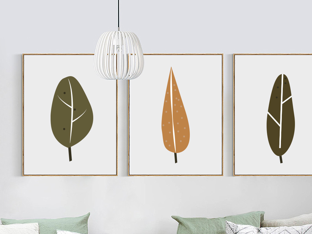 北欧抽象手绘树叶色彩装饰画