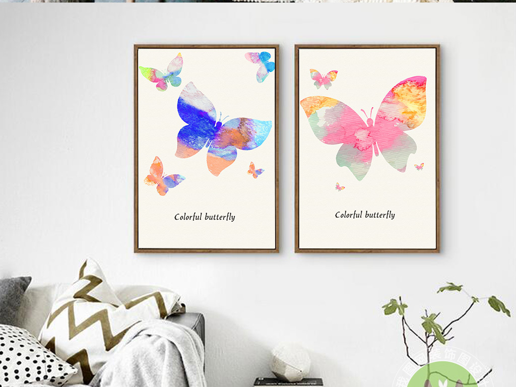 唯美手绘彩色蝴蝶装饰画