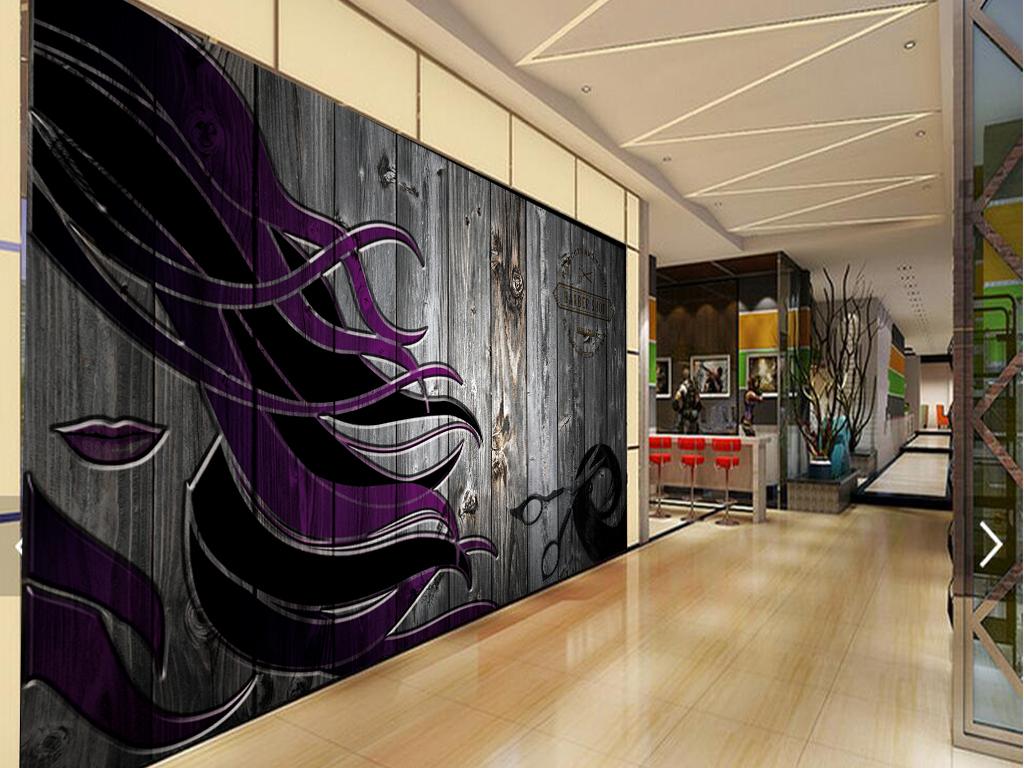 背景墙|装饰画 工装背景墙 形象墙 > 美发店复古木板墙壁怀旧工装背景图片