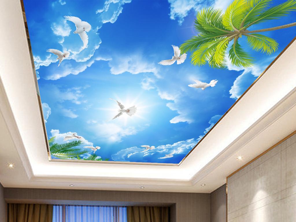 我图网提供精品流行蓝天白云鸽子吊顶壁画