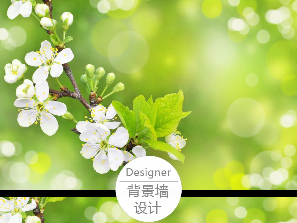 小白花手绘梦幻绿色背景墙
