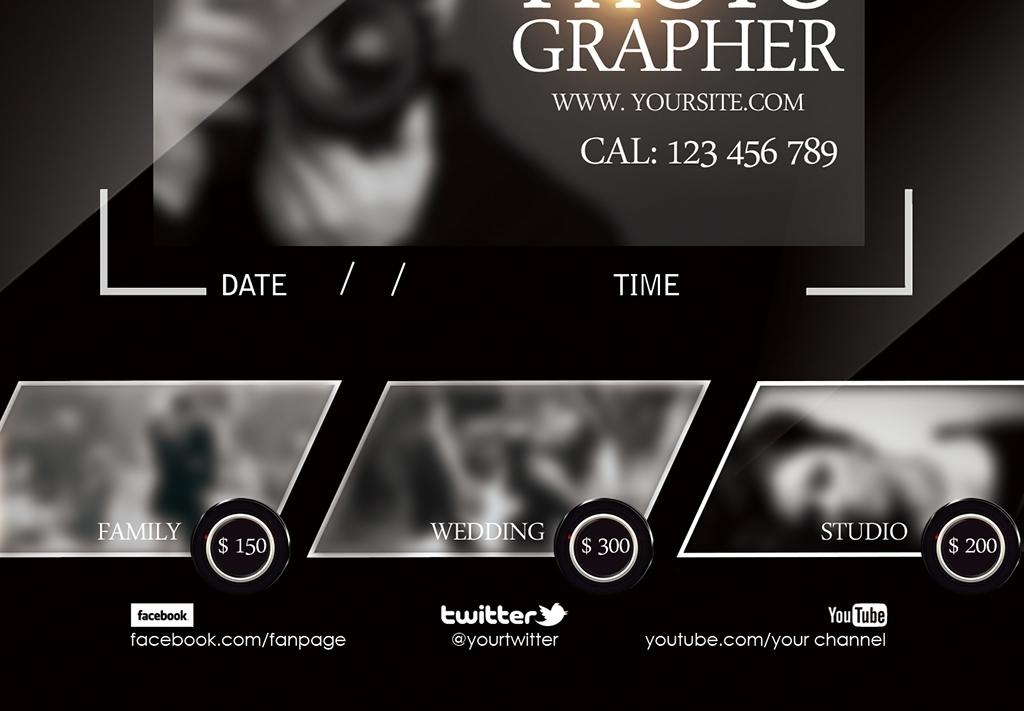 大气摄影工作室比赛海报psd模板素材下载,作品模板源文件可以编辑替换