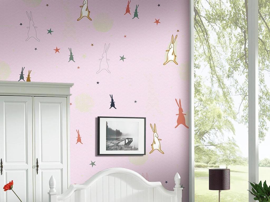 可爱卡通儿童房壁纸笔画背景墙