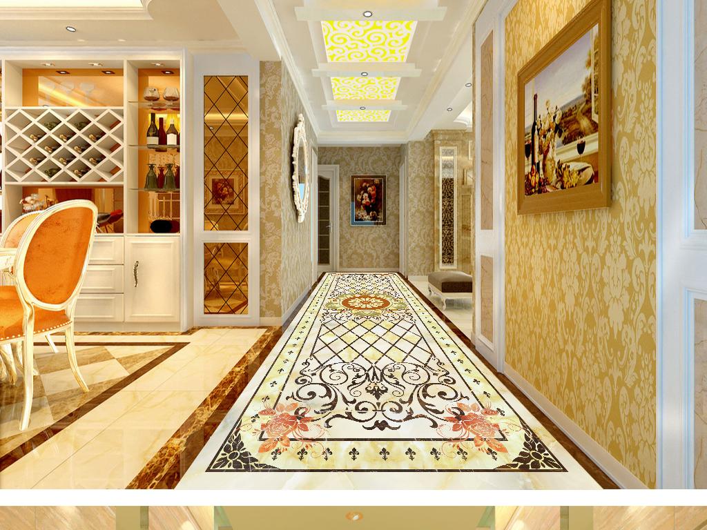 欧式花纹拼花长廊地板图片