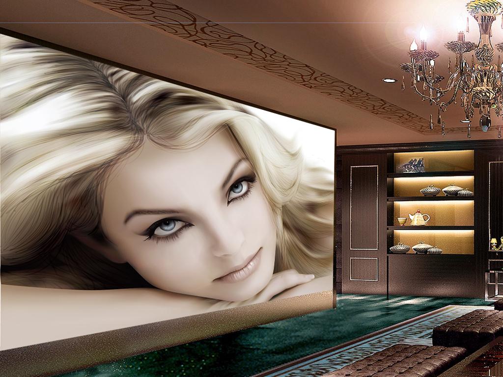 欧美性感金发女郎手绘插画背景墙