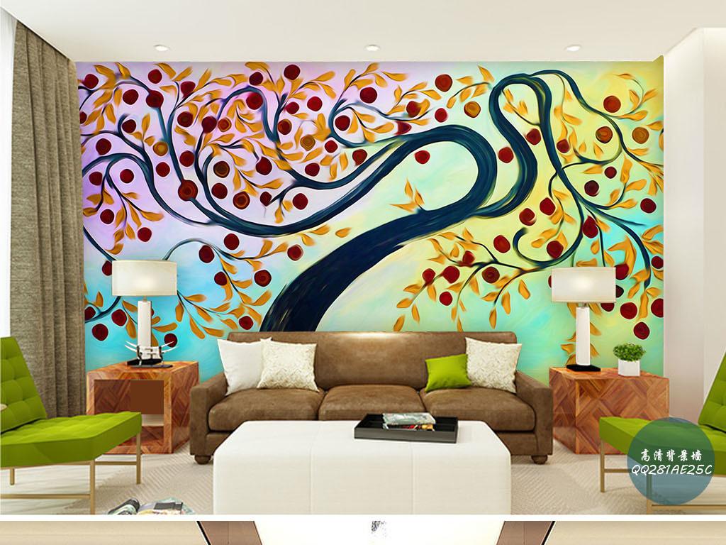 手绘墙壁画垂柳