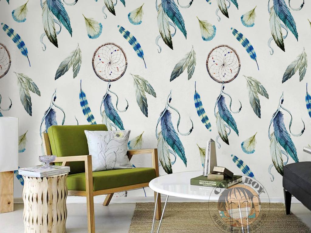 手绘羽毛简单图案素雅时尚现代简约墙纸