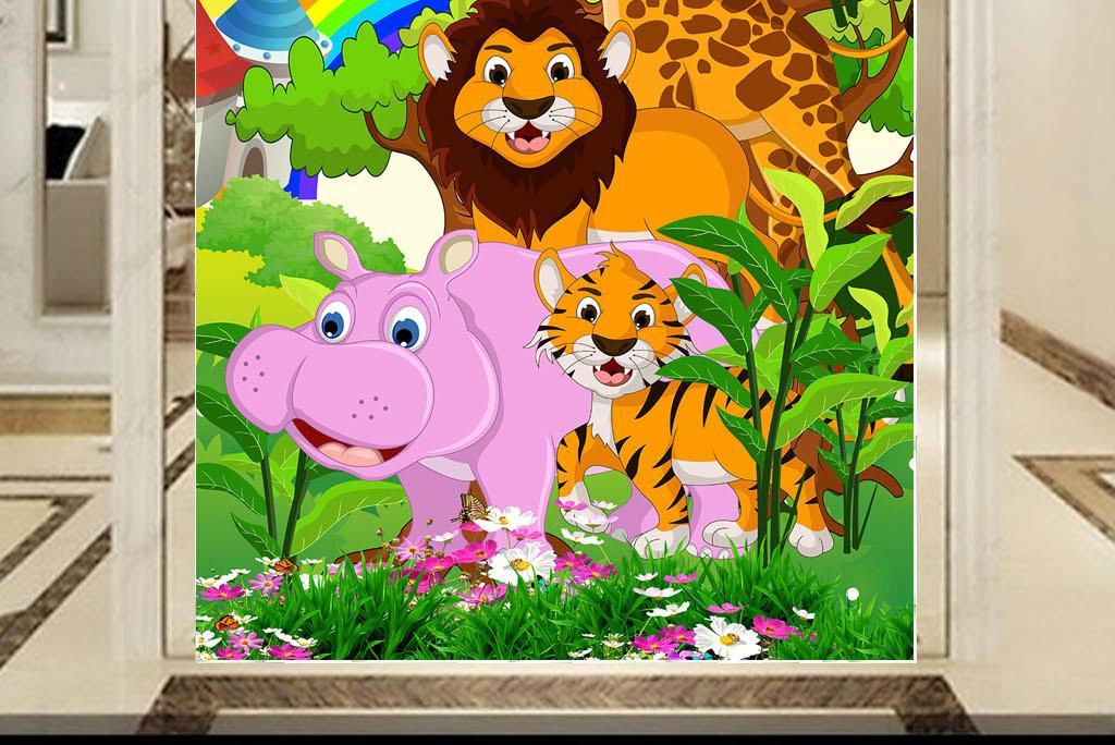 作品模板源文件可以编辑替换,设计作品简介: 可爱动物乐园儿童过道