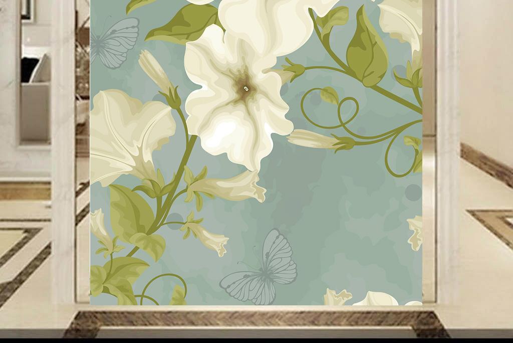 高清大图清新素雅水彩花卉中式墙纸玄关图片