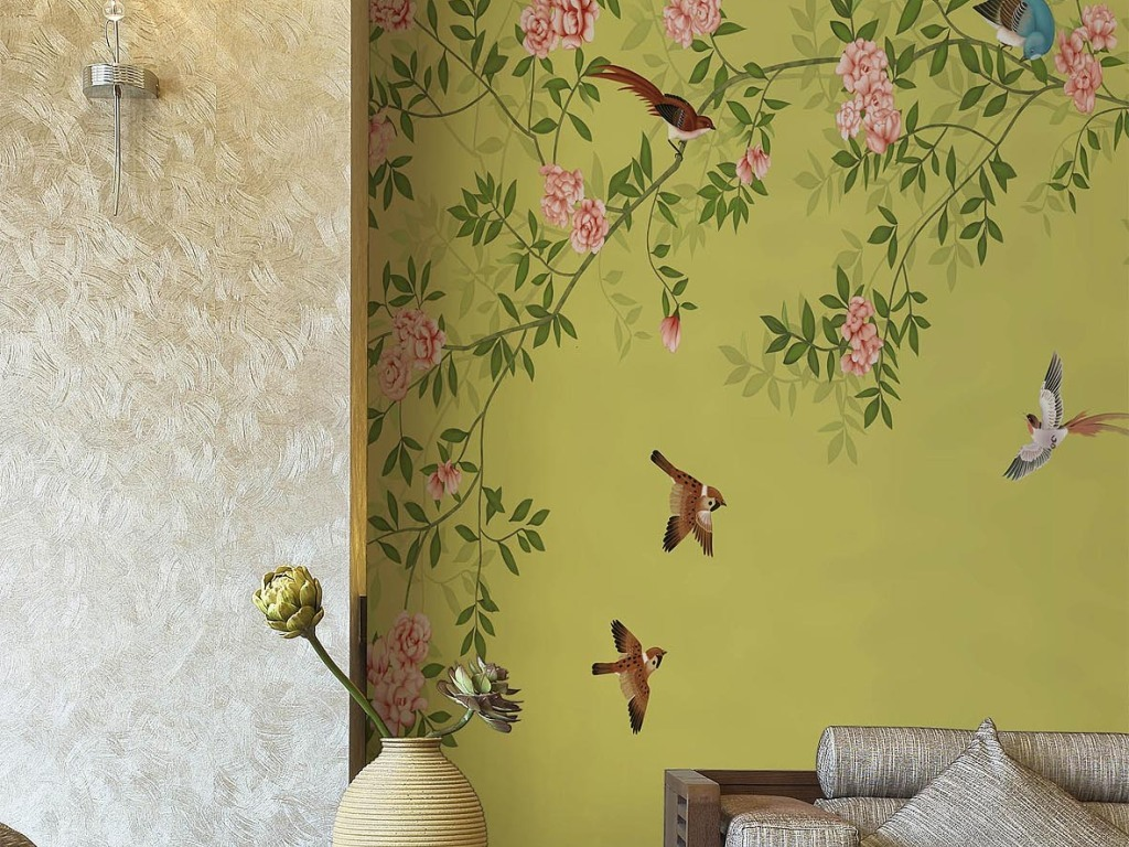 美式田园花鸟壁纸墙纸背景墙