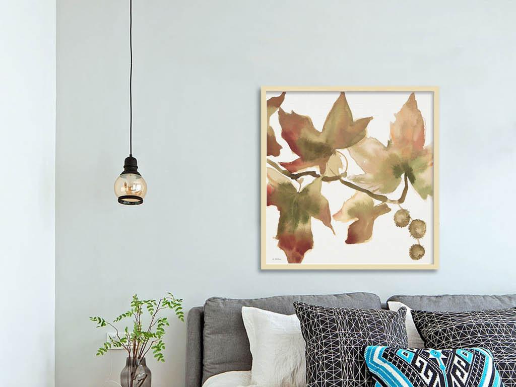 北欧简约手绘水彩枫叶无框画