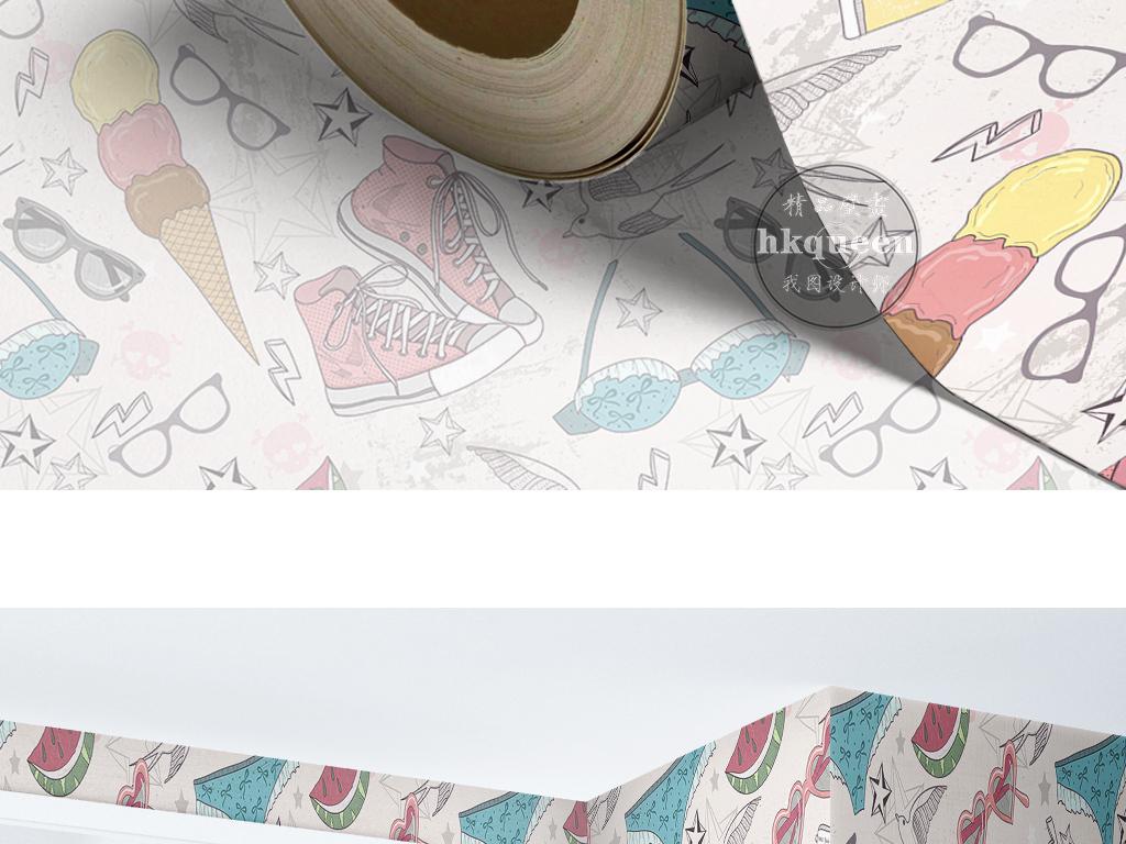 手绘卡通衣食住行素雅时尚现代简约墙纸