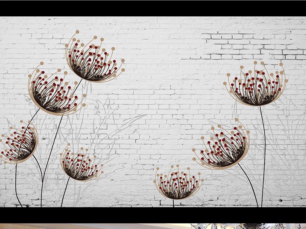 抽象手绘怀旧蒲公英电视背景墙