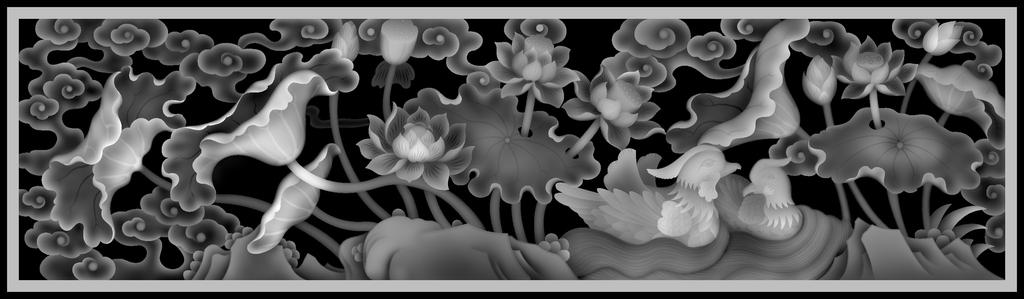 灰度图                                  浮雕图案电视背景墙