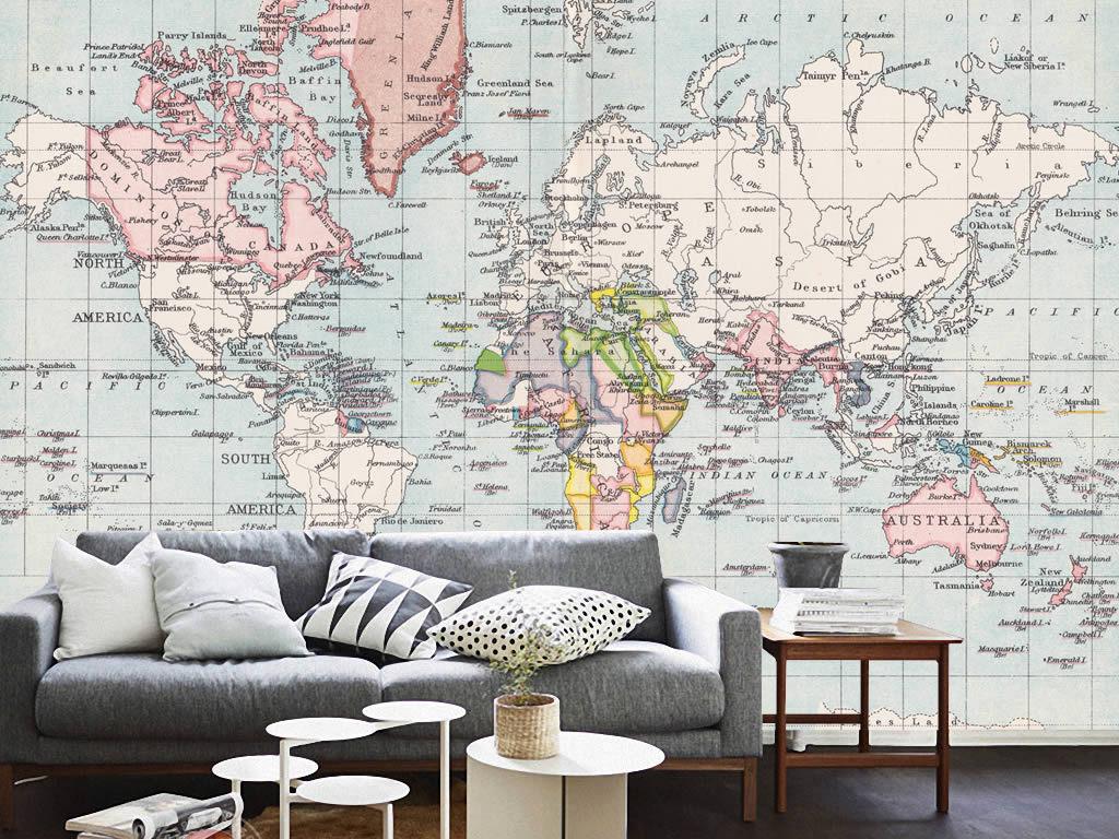 欧式复古怀旧世界地图背景墙装饰画