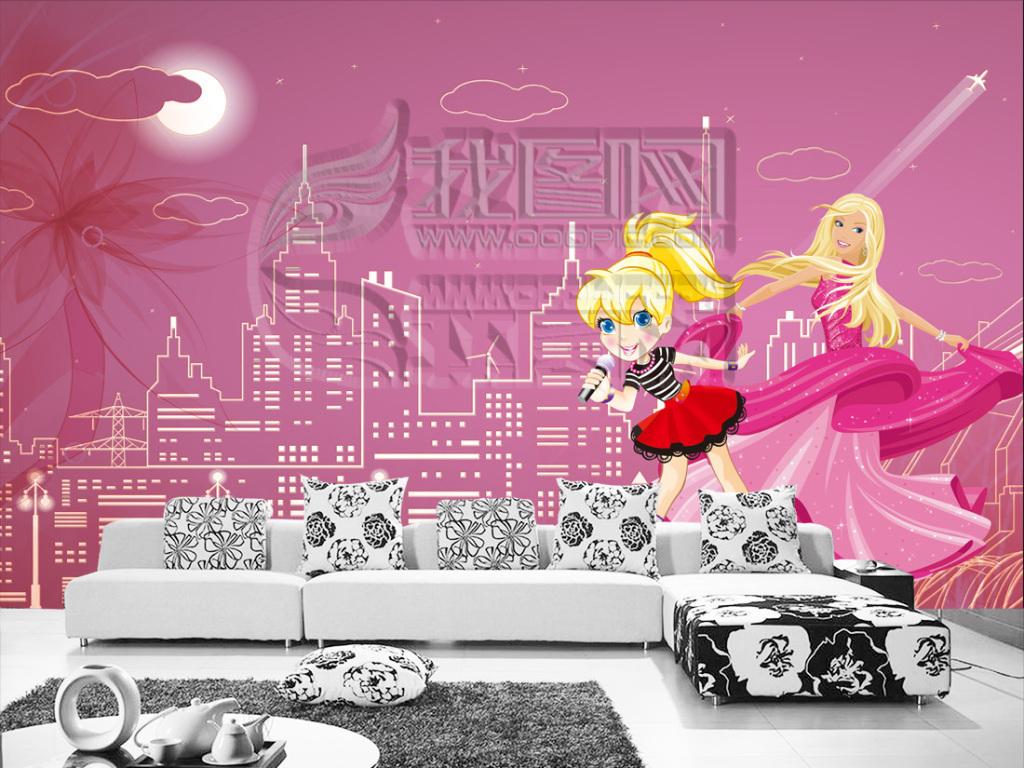 3d立体手绘k歌女王城市卡通电视背景墙