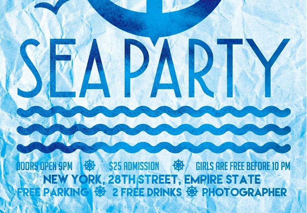 蓝色大海手绘水粉创意宣传海报psd模板