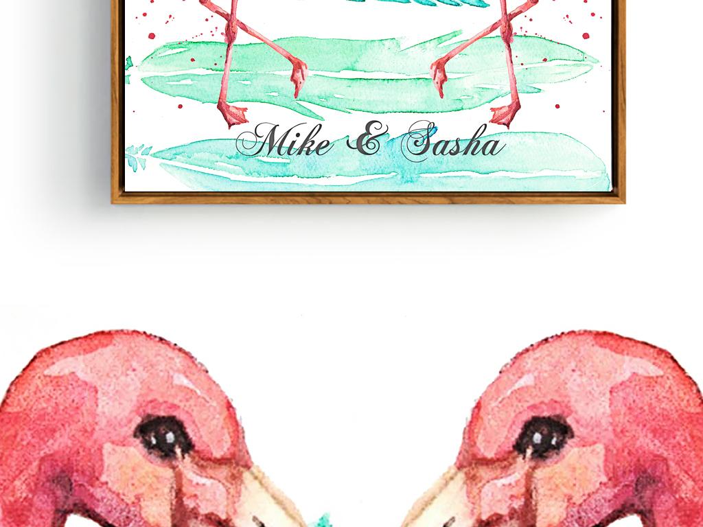 北欧风手绘水彩画简约无框画清新爱情情侣鸟类火烈鸟进口画芯欧美画芯