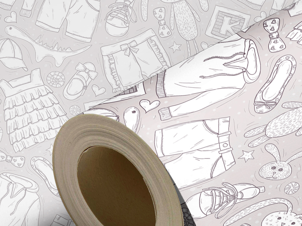 衣物洋娃娃卡通手绘儿童房现代简约墙纸