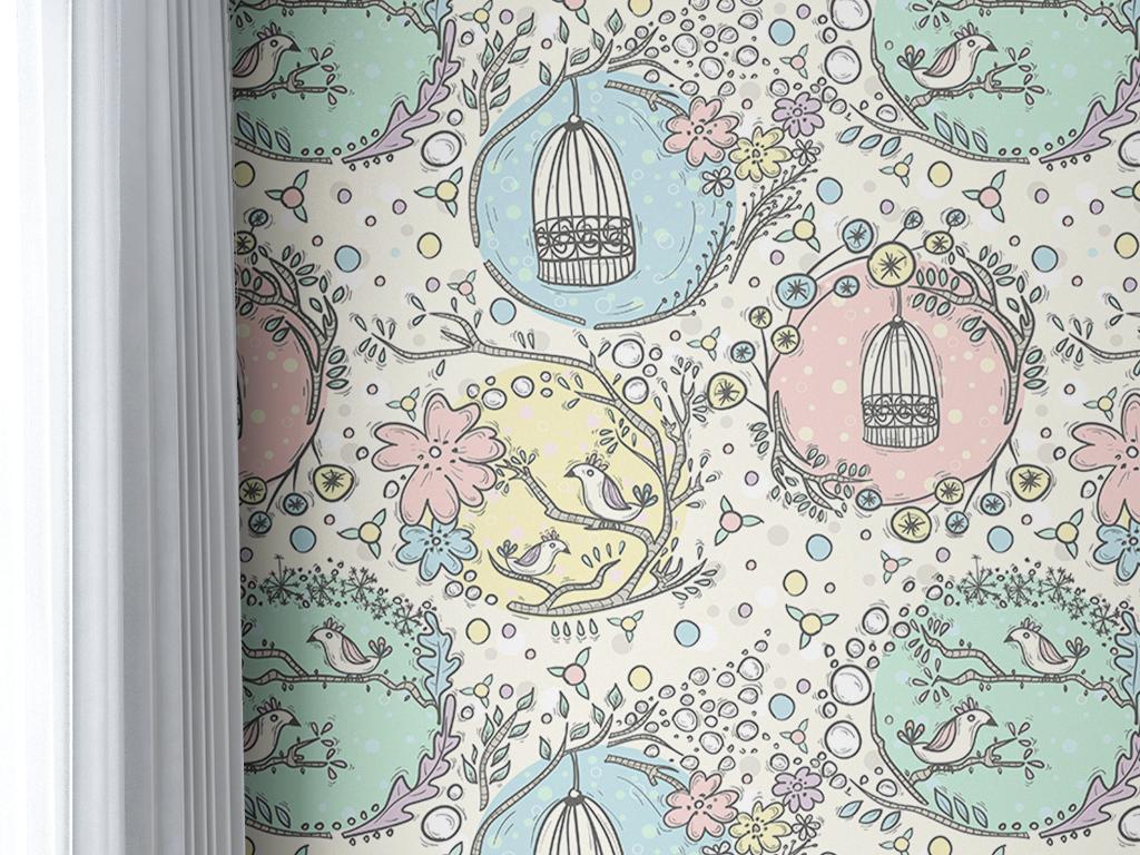 时尚素雅手绘花鸟图鸟笼简约藤蔓欧式墙纸图片