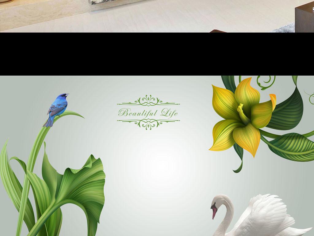 电视背景墙手绘花卉