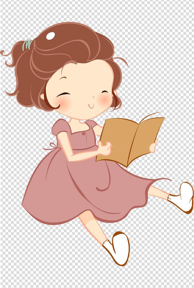 唯美手绘可爱小女孩读书