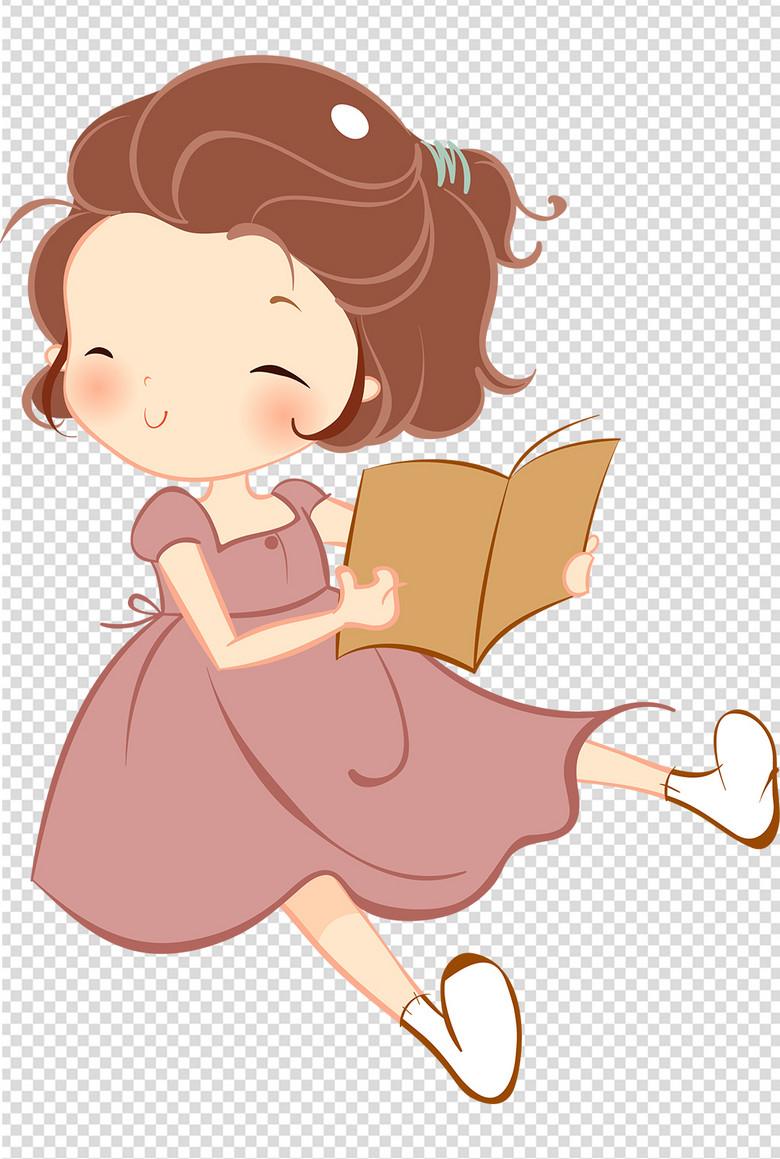 唯美手绘可爱小女孩笑着看书