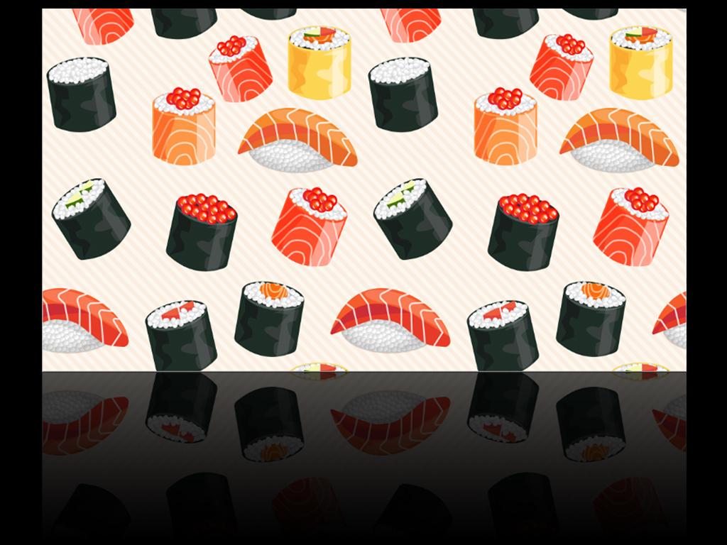 手繪日本料理壽司店餐廳背景墻