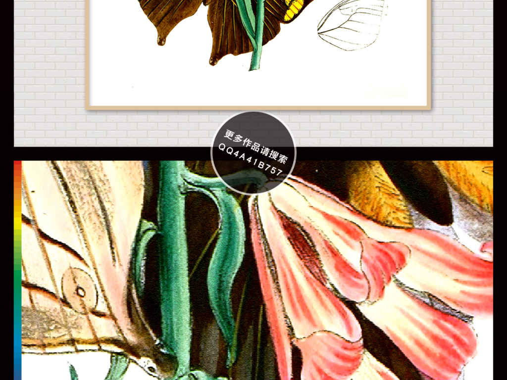 手绘水彩画植物素描插画玄关背景装饰画