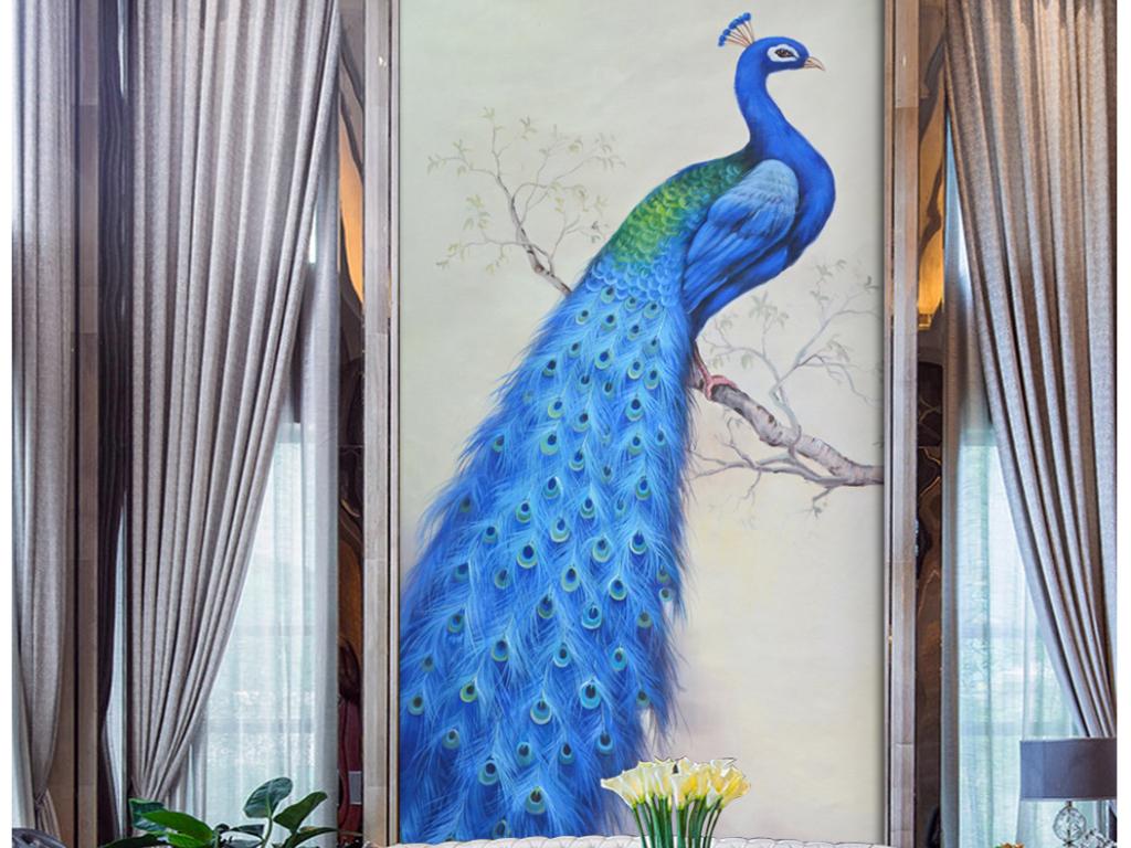 唯美蓝孔雀纯手绘高清画质油画玄关
